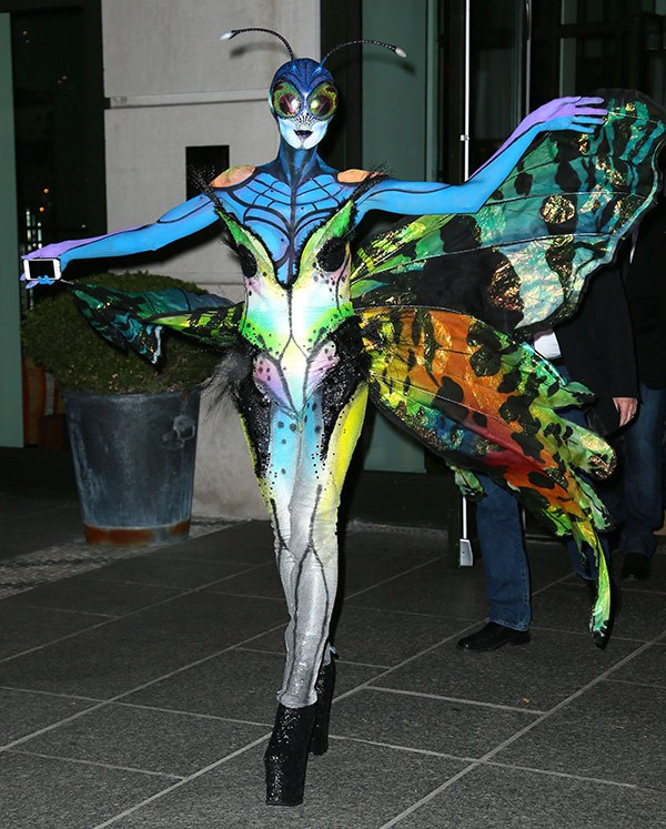 Heidi Klum in her butterfly costume
