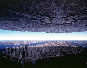 """A large """"city destroyer"""" shadowing New York city"""